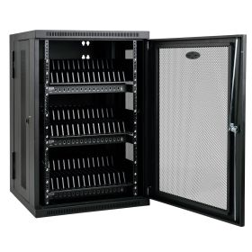 48-Device USB Charging Station Cabinet with Sync for iPad and Android Tablets, Wall-Mount and Cart Options, Black