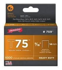"T75 Arrow Staples 9/16"" (14mm) (Pack of 1000)"