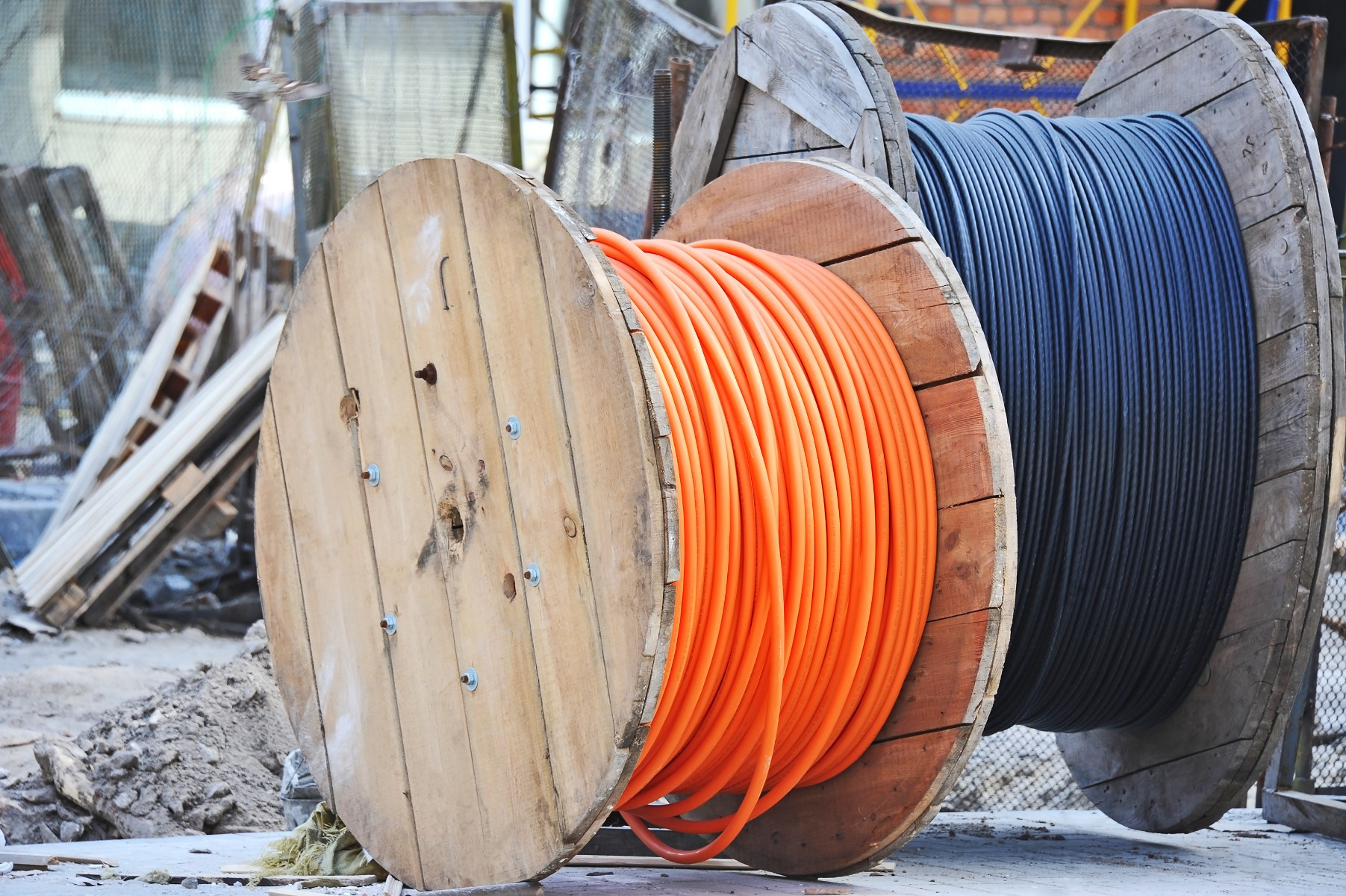Two reels of wire