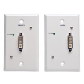 DVI over Cat5/Cat6 Passive Extender Wallplate Kit, Transmitter and Receiver, 1920x1080 60Hz, Up to 100FT, TAA
