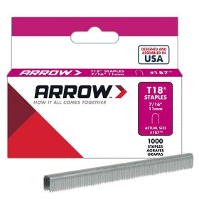 "T18 Arrow Staples 7/16"" (Pack of 1000)"