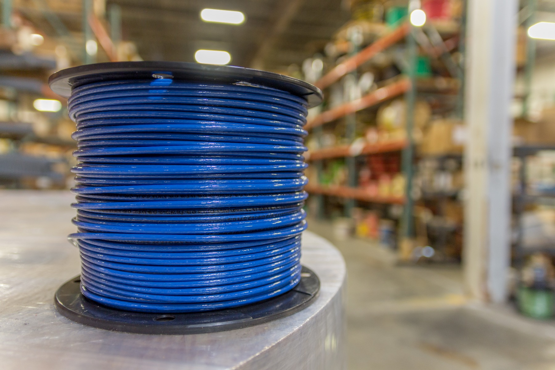 Blue reel of wire